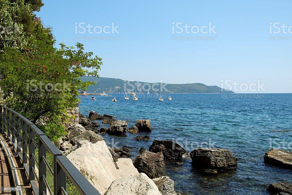 Sea view in town Herceg Novi, Kotor Bay, Montenegro stock photo
