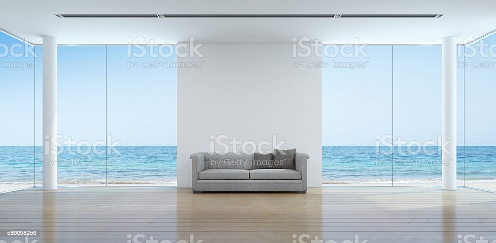 Sea view living room interior in modern beach house stock photo