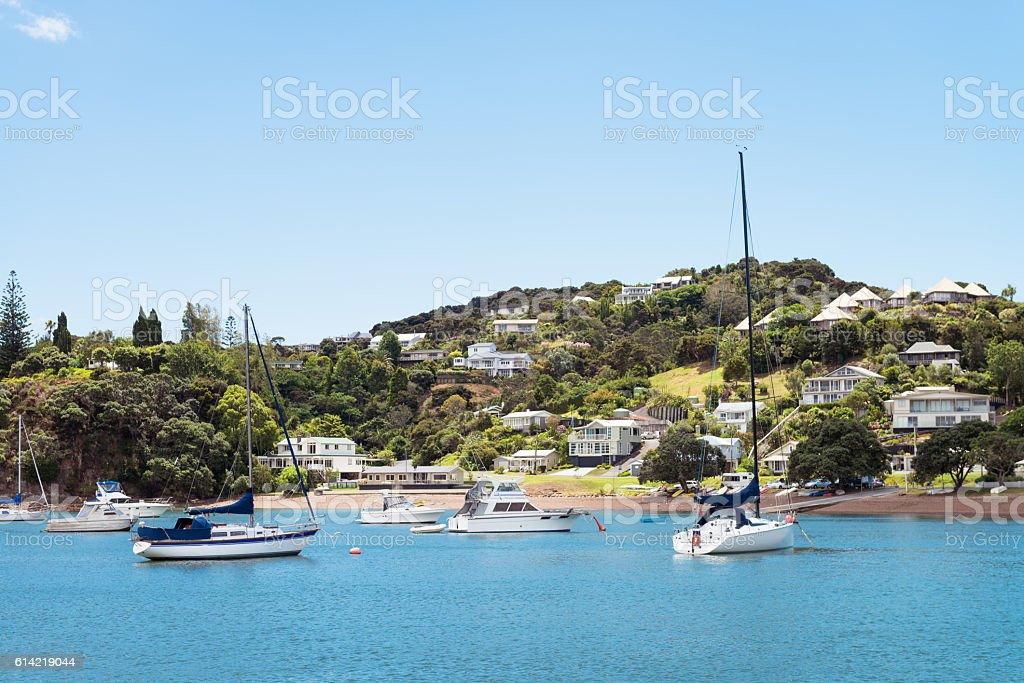 Sea view of idyllic Russel in New Zealand's Nortland stock photo