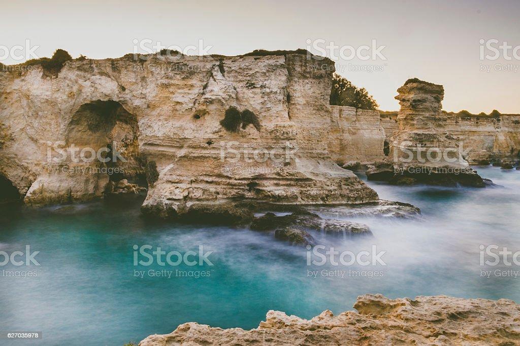 Sea view of Melendugno, Salento, Puglia, Italy stock photo