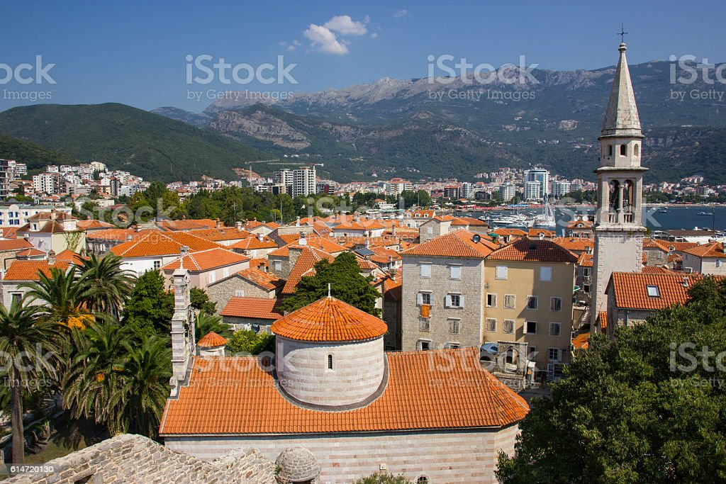 Sea view of old town in Budva, Montenegro stock photo