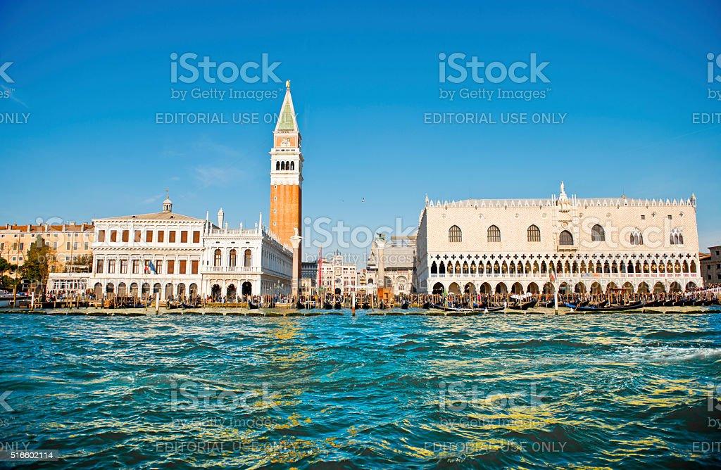 Sea view of San Marco Square with gondolas stock photo