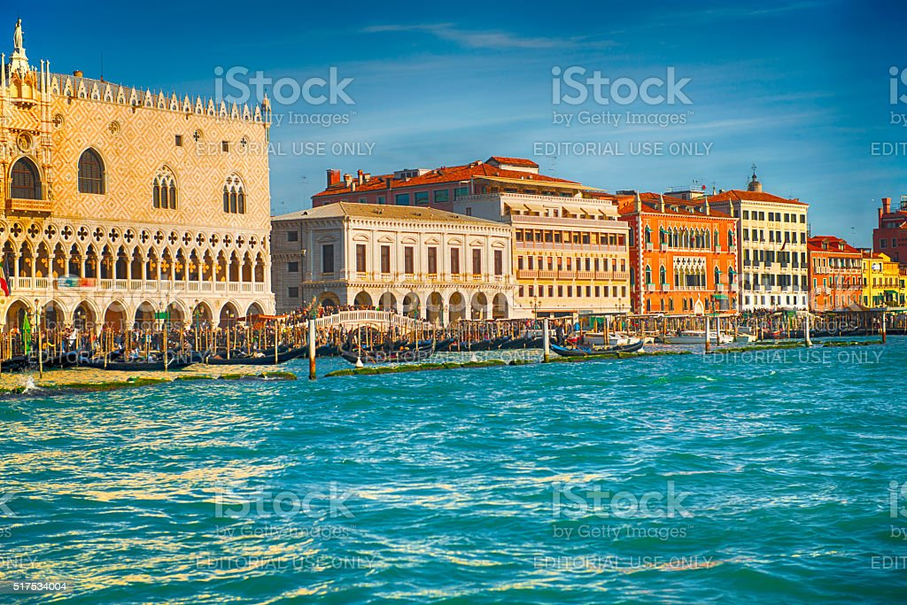 Sea view of San Marco Square with gondolas stock photo