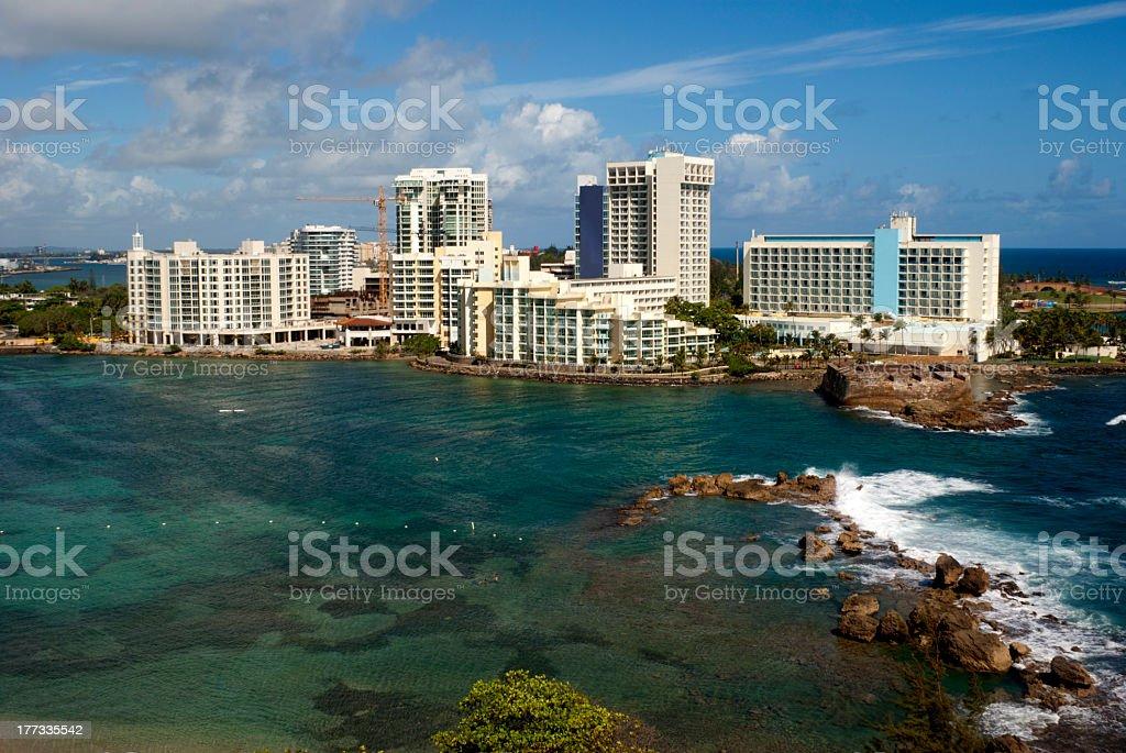 Sea view of the beautiful San Juan in Puerto Rico  stock photo