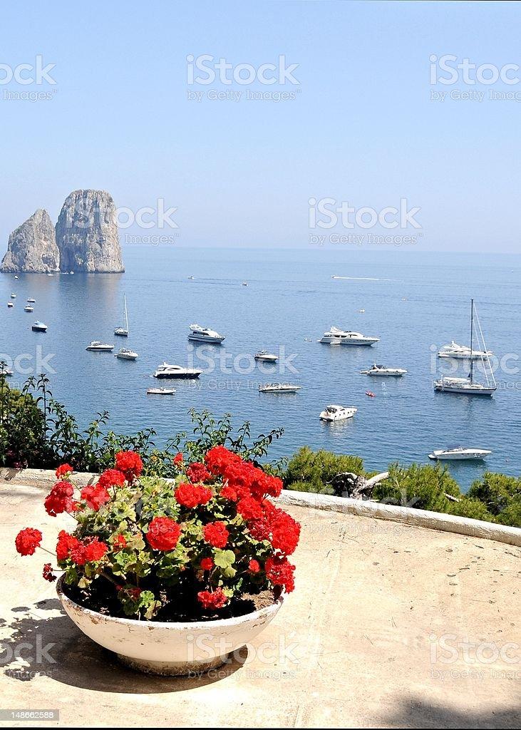 Sea view on Capri, Italy stock photo