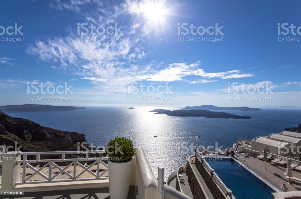 Sea view on Santorini, Greece stock photo