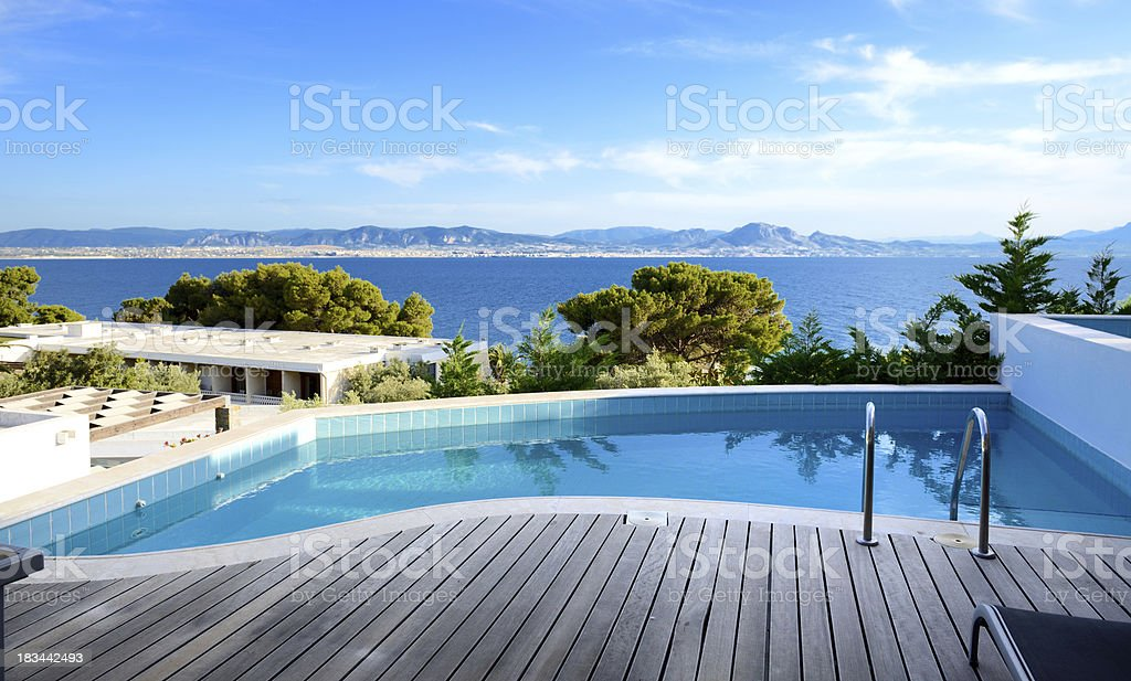 Sea view swimming pool in the luxury hotel, Peloponnes, Greece royalty-free stock photo