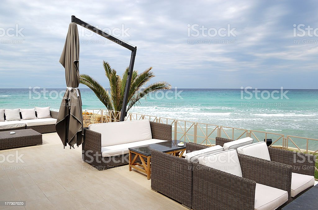 Sea view terrace by a beach royalty-free stock photo