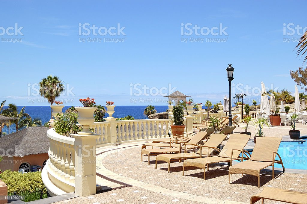 Sea view terrace of luxury hotel's restaurant, Tenerife island, Spain stock photo