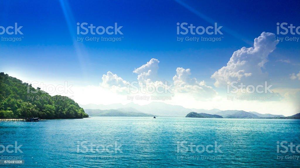 Sea view with clouds on horizon. Travel tropical island resort at ko chang island,Thailand. stock photo
