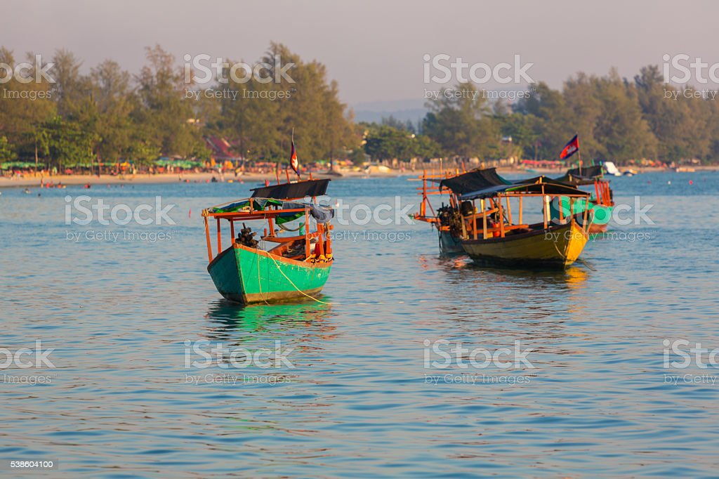 Sea view with khmer boats, beach of Sihanoukville. Cambodia stock photo