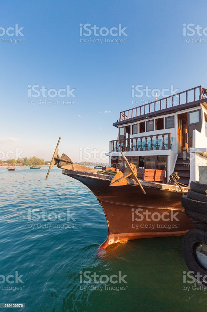 Sea view with tourist boat, beach of Sihanoukville. Cambodia stock photo