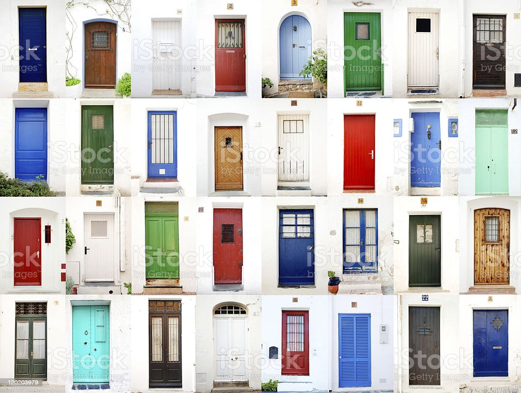Sea village doors stock photo