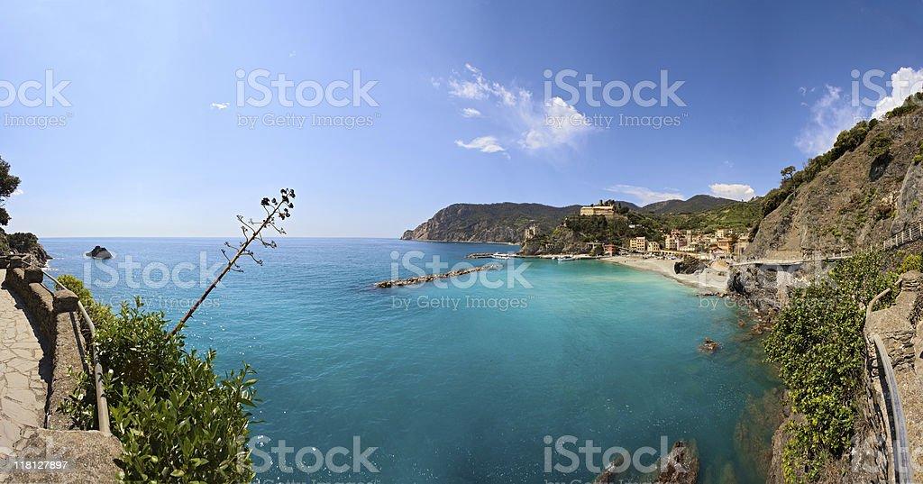 Sea village panorama, Cinque Terre, Italy royalty-free stock photo