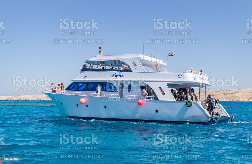 Sea voyage to coral reefs in Egypt stock photo