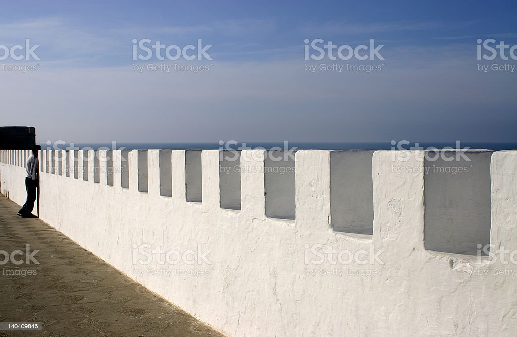 Sea Wall in Assilah stock photo