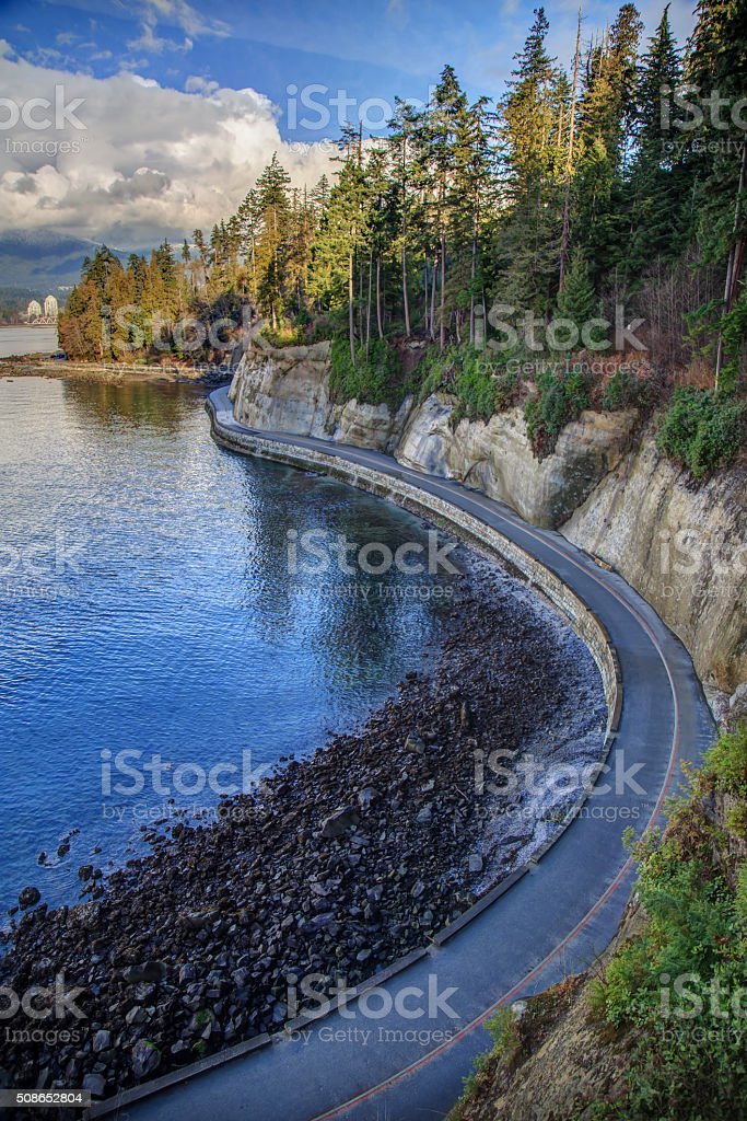 sea wall in Stanley Park, Vancouver, BC, Canada stock photo