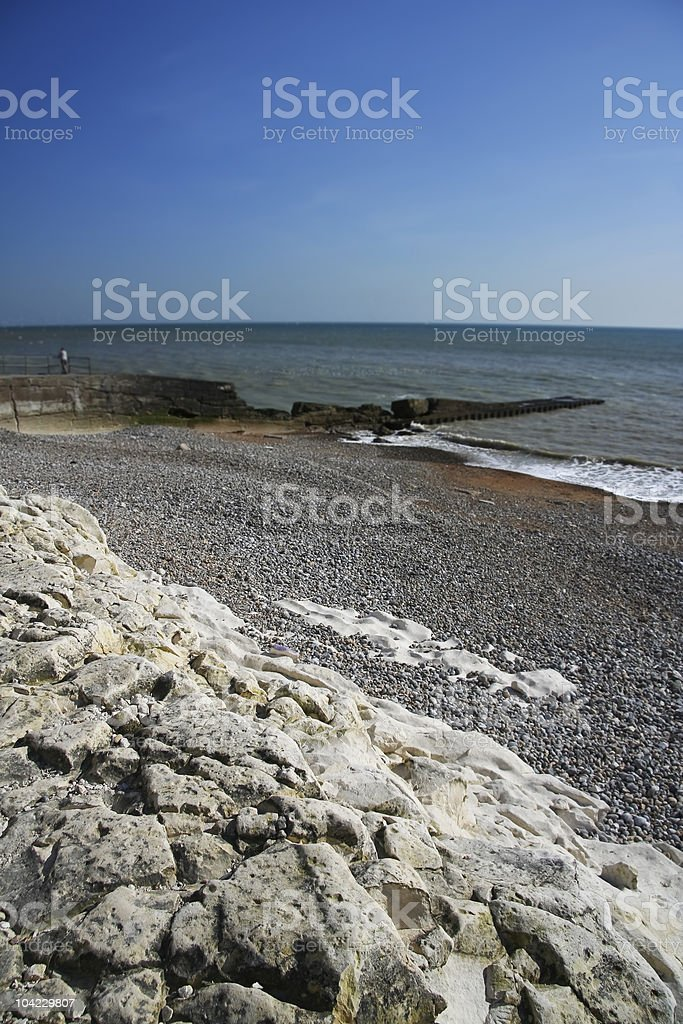 sea wall seaford head sussex royalty-free stock photo