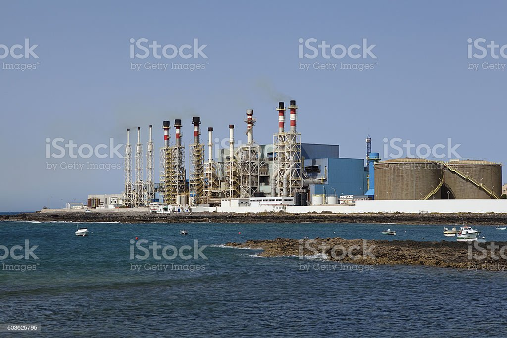 sea water desalination plant stock photo
