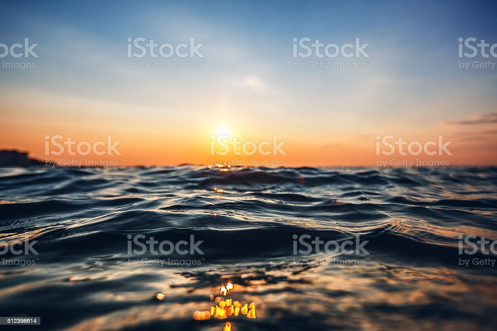 Sea wave close up, low angle view stock photo