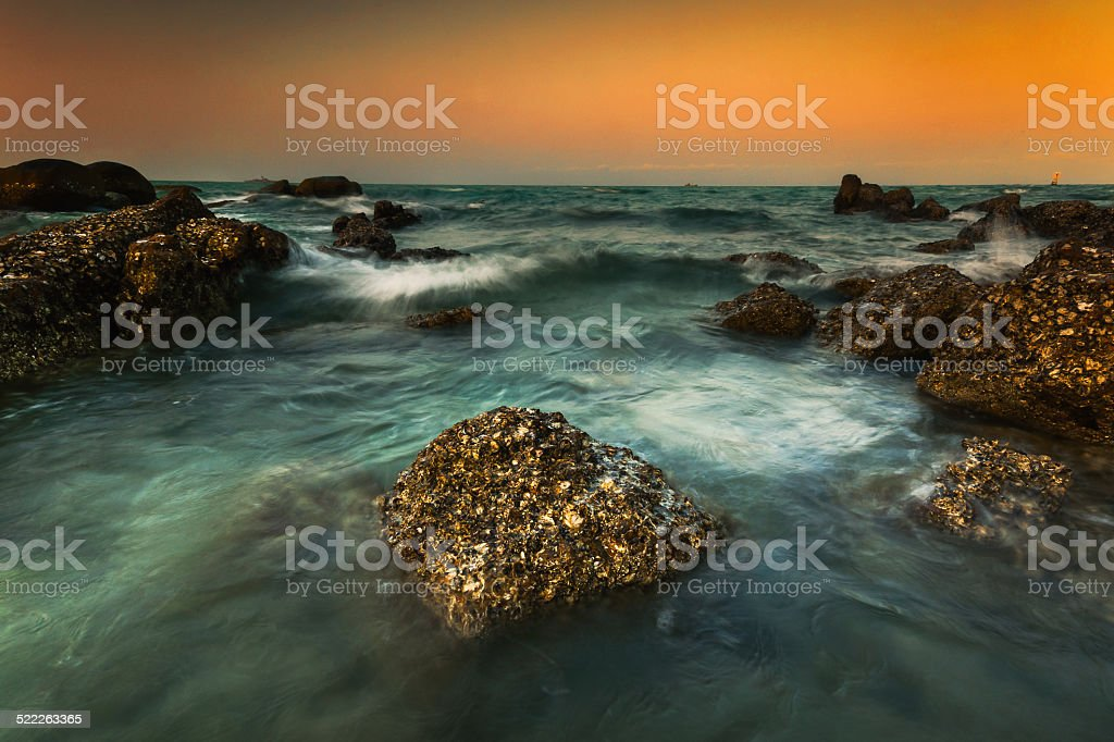 Sea wave on the rock royalty-free stock photo