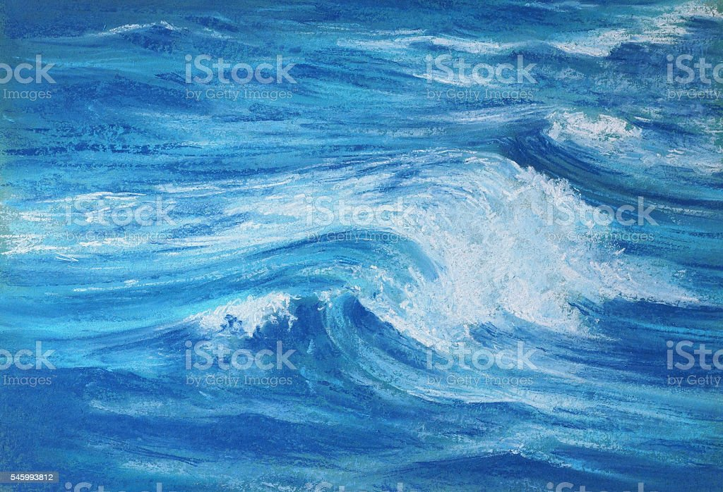 sea wave pastel drawing stock photo