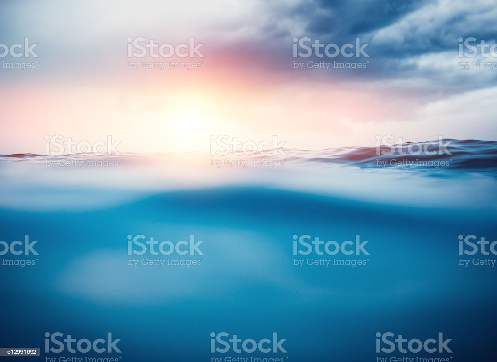 Sea Waves At Sunset stock photo
