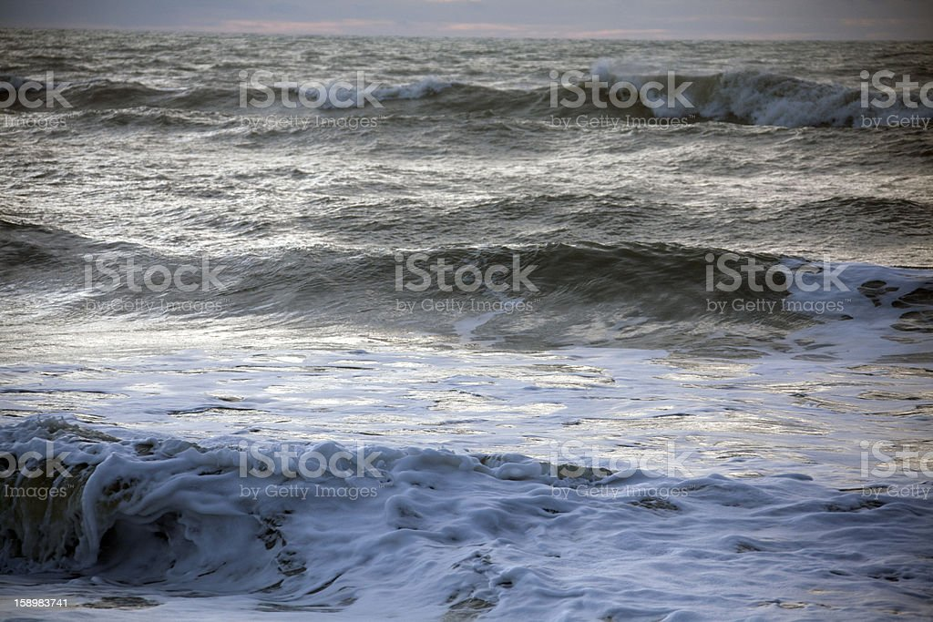 Sea waves in Picardy royalty-free stock photo