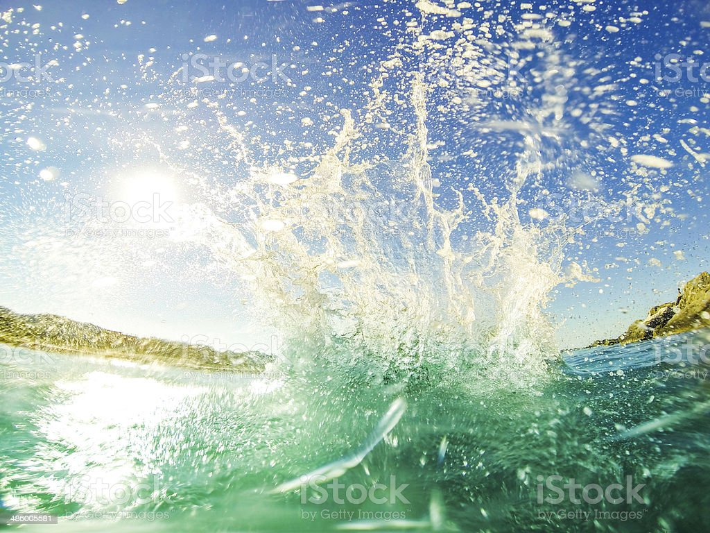Sea waves in the water stock photo