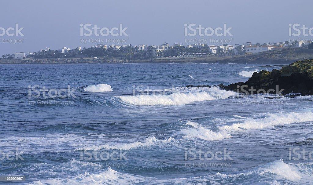 Mar, olas, paisaje, Cyprus foto de stock libre de derechos