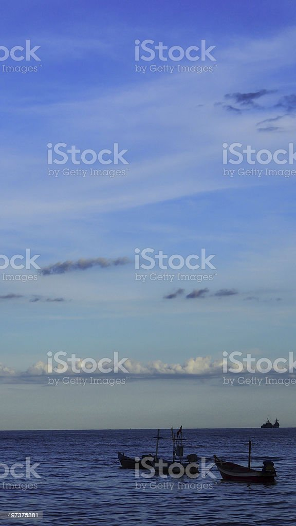 sea with fisher boat royalty-free stock photo