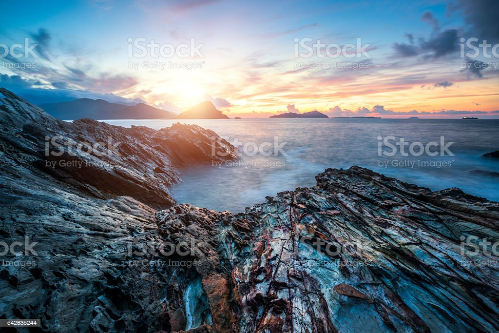 sea with rocks stock photo