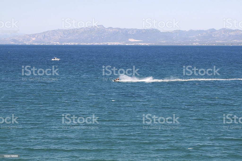 Sea wаves. Speed Boat. royalty-free stock photo