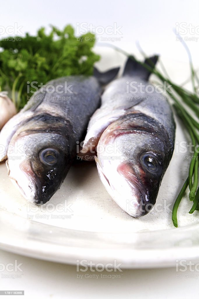 seabass with herbs royalty-free stock photo