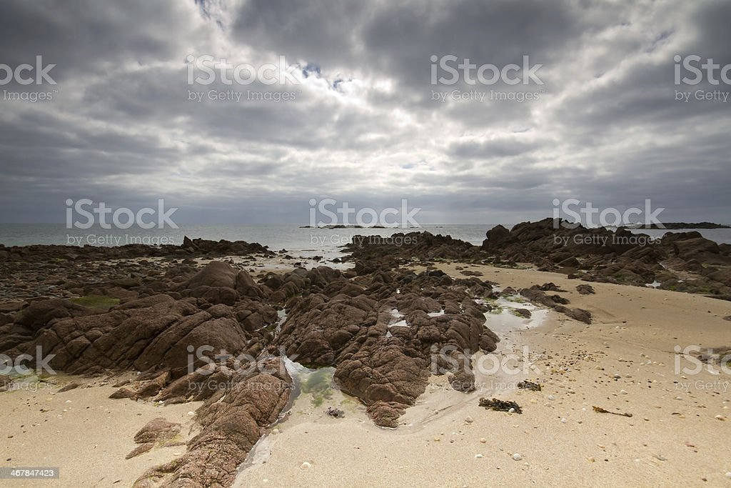 Seabed off the Jersey, UK, coast at low tide stock photo