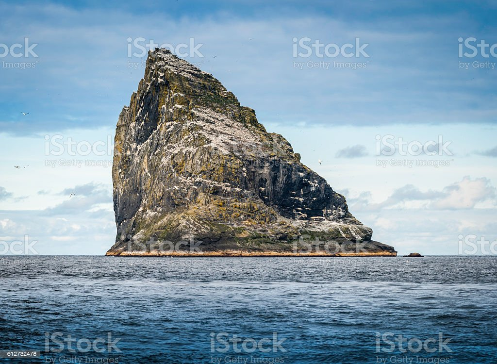 Seabird colony on remote ocean seastack island St Kilda Scotland stock photo