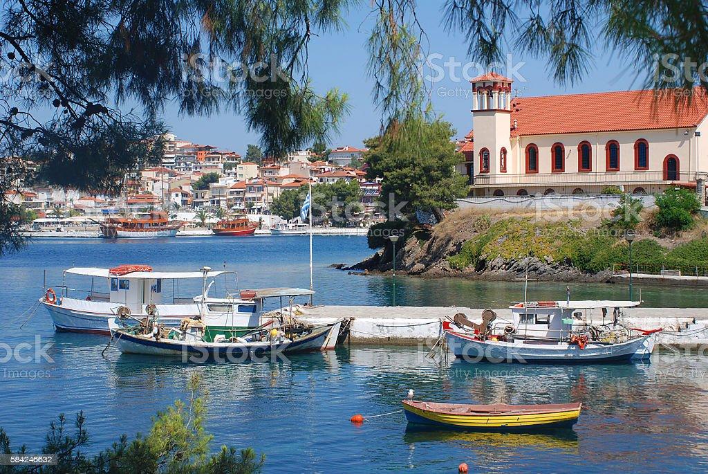 Sea,boats and church stock photo