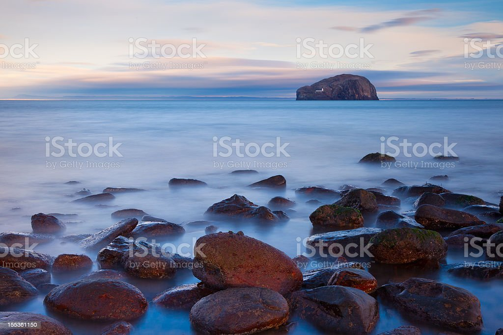 Seacliff looking towards Bass rock, East Lothian, Scotland. stock photo