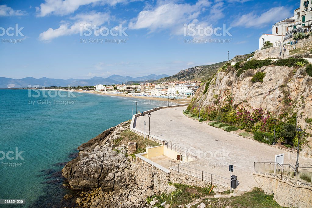 seacoast of old town Sperlonga, Lazio, Italy stock photo