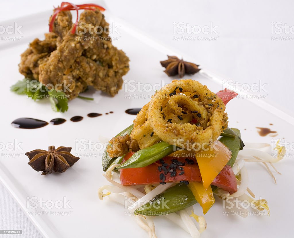 Seafood and Beef on Plate royalty-free stock photo