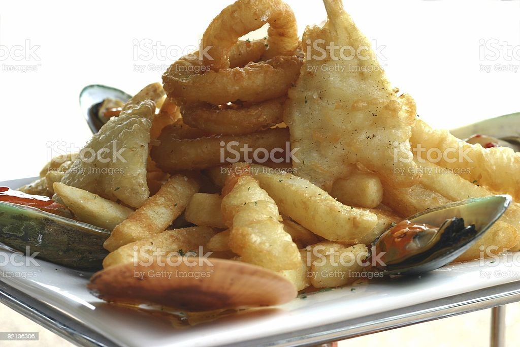 Seafood and Chips stock photo
