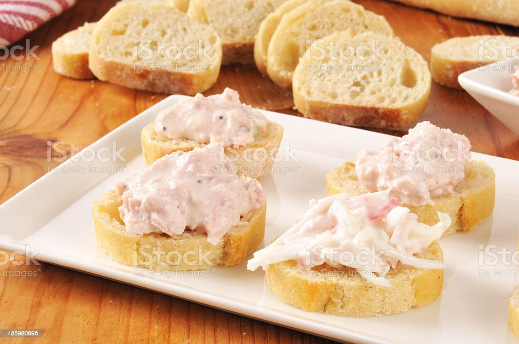 Seafood and ham appetizers stock photo