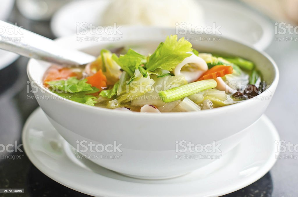 Seafood and vegetable soup... stock photo