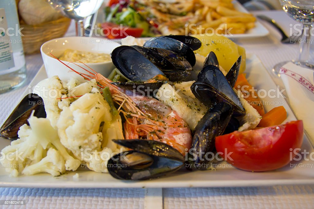 Seafood and vegetables in Marseille stock photo
