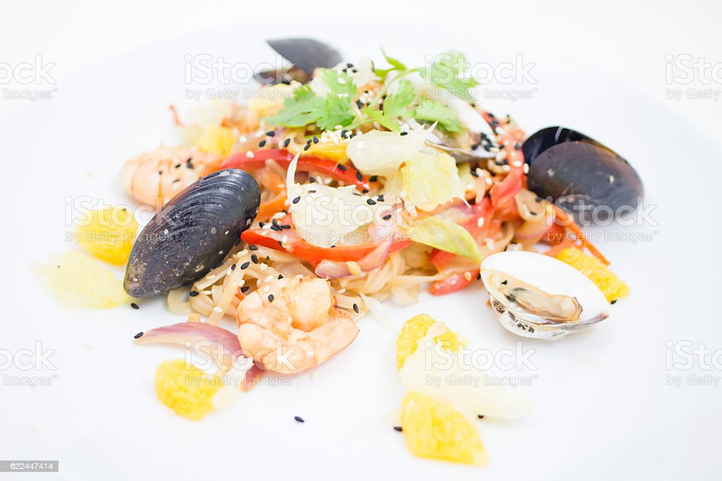 seafood appetizer stock photo
