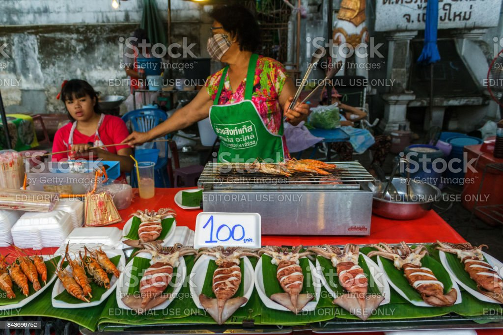 Seafood at the Chiang Mai walking street market stock photo