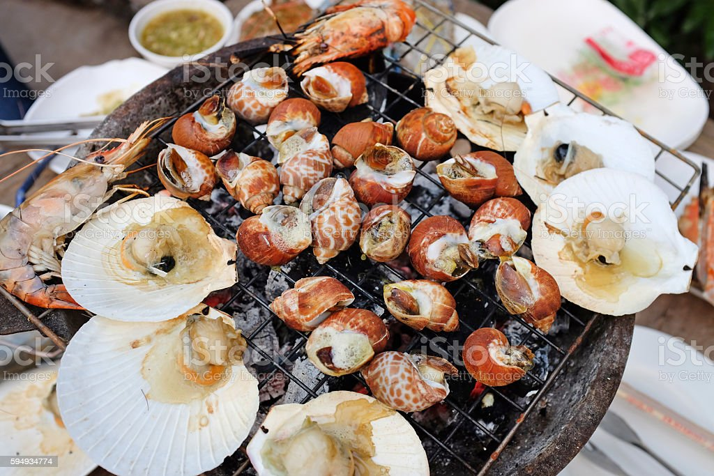 Seafood barbecue stock photo