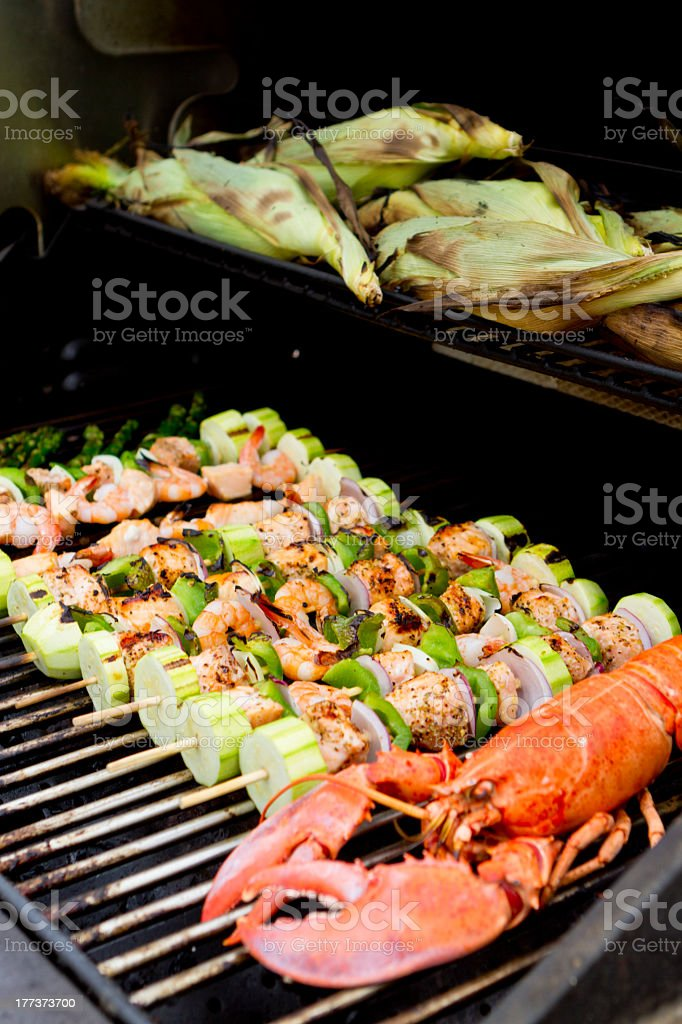 Seafood Barbecue with Cornstalks royalty-free stock photo