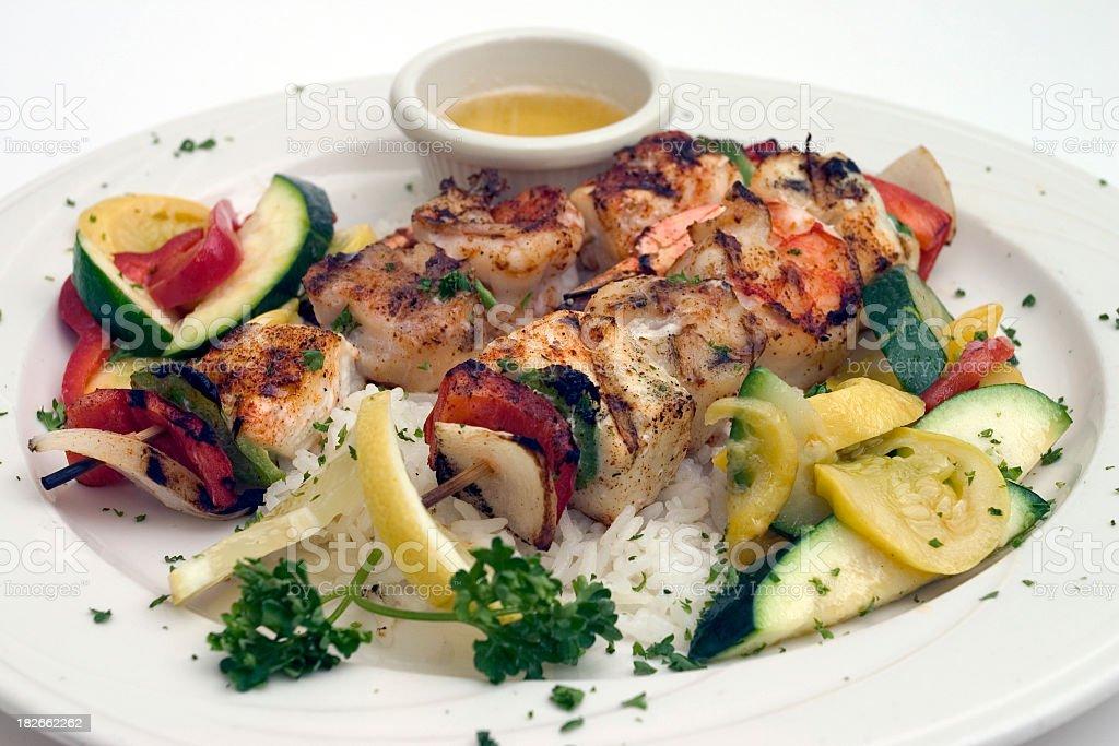 Seafood Brochetts stock photo