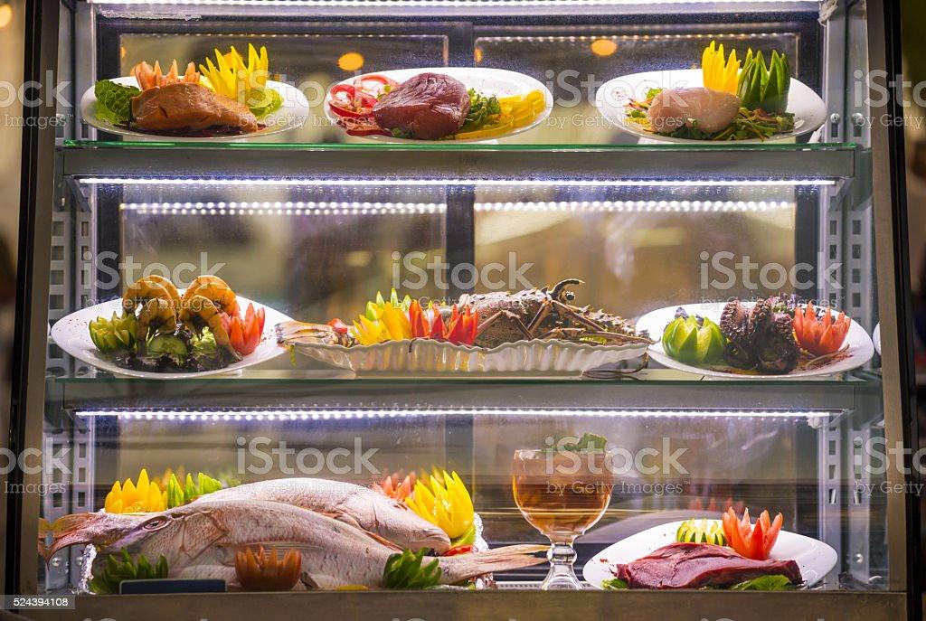 Seafood buffet at restaurant fresh food display stock photo